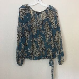 Lucky Brand Sheer Paisley Print Top